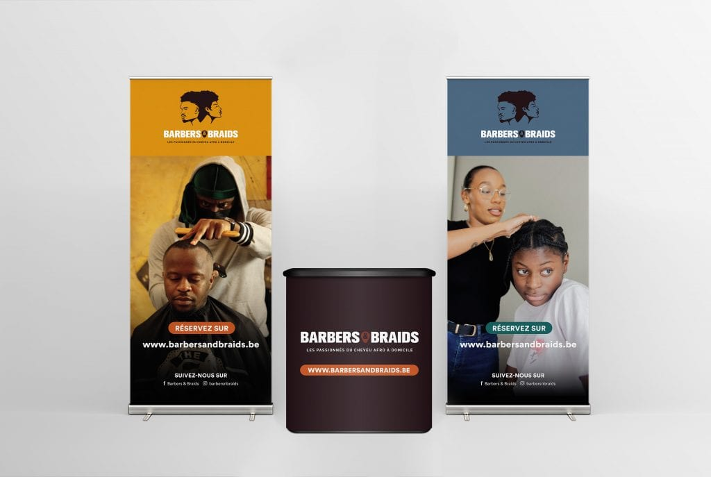 Barbers and braids roll-up et stand